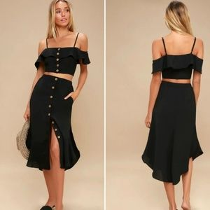 Lulus MALTA BLACK TWO-PIECE DRESS